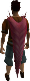 Mimic tongue cape equipped.png: Mimic tongue cape equipped by a player