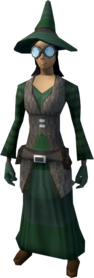 Runecrafter robes (green, goggles on) equipped (female).png: Runecrafter skirt (green) equipped by a player