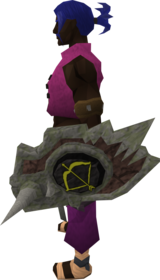 Sacred clay shield (ranged) equipped.png: Sacred clay shield (ranged) equipped by a player
