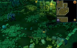 Scan clue Brimhaven Dungeon lower level south-east corner of bronze dragon chamber.png