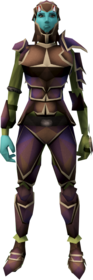 Carapace armour equipped (female).png: Carapace legs equipped by a player