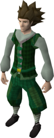 Green elegant outfit (shirt and legs) equipped (male).png: Green elegant shirt equipped by a player