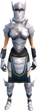 White armour (heavy) equipped (female).png: White boots equipped by a player