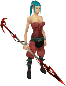 Dragon spear equipped.png: Dragon spear equipped by a player