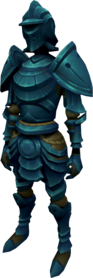 Elder rune armour + 2 equipped (female).png: Elder rune full helm + 2 equipped by a player