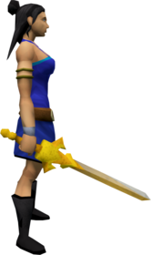 Golden chaotic longsword equipped.png: Golden chaotic longsword equipped by a player