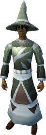 Sacred clay armour (magic) equipped (male).png: Sacred clay hat equipped by a player