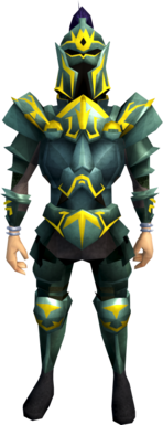 Adamant armour (g) (heavy) equipped (male).png: Adamant kiteshield (g) equipped by a player