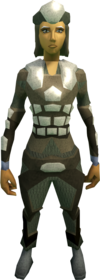 Morrigan's armour equipped (female).png: Morrigan's coif equipped by a player