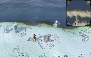 Scan clue Fremennik Isles north of land bridge connecting two snowy islands.png