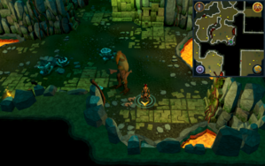 Scan clue Brimhaven Dungeon lower level south-east corner of small moss giant room.png