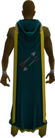 Hooded fletching cape (t) equipped.png: Hooded fletching cape (t) equipped by a player
