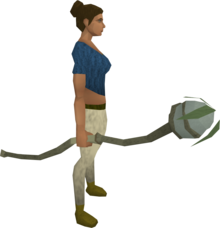 Nature staff equipped.png: Nature staff equipped by a player