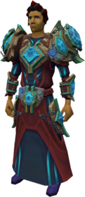 Augmented elite tectonic armour equipped.png: Augmented elite tectonic robe top equipped by a player