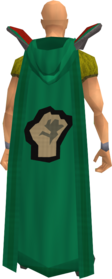 Retro hooded strength cape equipped.png: Hooded strength cape equipped by a player