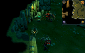 Scan clue Brimhaven Dungeon upper level west side of greater demon area.png