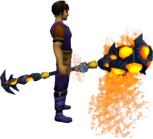 Augmented staff of limitless lava equipped.png: Augmented staff of limitless lava equipped by a player