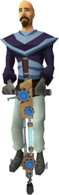 Pogo stick equipped.png: Pogo stick equipped by a player