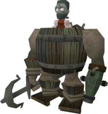 Barrelchest disguise equipped.png: Barrelchest disguise equipped by a player