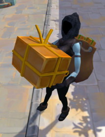 Huge delivery parcel equipped.png: Huge delivery parcel equipped by a player