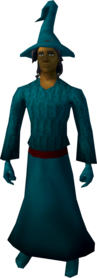 Robe outfit (teal) equipped (male).png: Hat (teal) equipped by a player