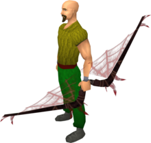 Noxious longbow (blood) equipped.png: Augmented noxious longbow (blood) equipped by a player