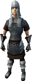 Iron armour (light) equipped (male).png: Iron med helm equipped by a player
