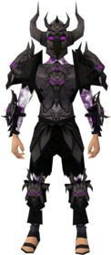 Malevolent armour (shadow) equipped (male).png: Malevolent cuirass (shadow) equipped by a player