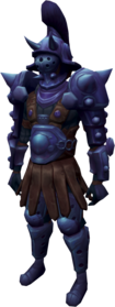 Bane armour + 4 equipped (male).png: Bane platelegs + 4 equipped by a player