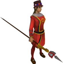 Queen's guard outfit equipped.png: Queen's guard staff equipped by a player