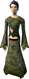 Slave outfit equipped (female).png: Slave robe equipped by a player