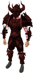 Malevolent armour (blood) equipped (male).png: Malevolent cuirass (blood) equipped by a player