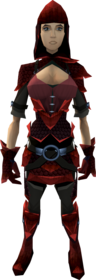 Red dragonhide armour equipped (female).png: Red dragonhide boots equipped by a player