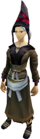 Farmer's outfit equipped (female).png: Farmer's boots equipped by a player