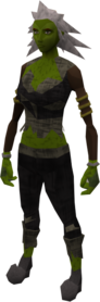 Zombie outfit equipped (female).png: Zombie trousers equipped by a player