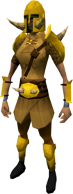 Golden Torag's armour equipped (female).png: Golden Torag's helm equipped by a player