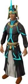 First tower robe armour equipped (blue).png: First tower robe top (blue) equipped by a player