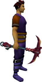 Orikalkum pickaxe + 1 equipped.png: Orikalkum pickaxe + 1 equipped by a player