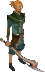 Korasi's sword equipped.png: Korasi's sword equipped by a player