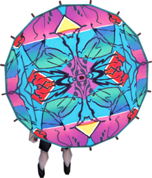 Hawai'i parasol equipped.png: Hawai'i parasol equipped by a player