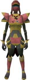 Lunar armour (red) equipped (female).png: Lunar boots (red) equipped by a player