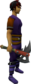 Dwarven army axe equipped.png: Dwarven army axe equipped by a player