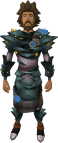 Augmented ganodermic armour equipped (male).png: Augmented ganodermic leggings equipped by a player