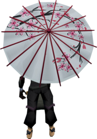 Blossom parasol equipped.png: Blossom parasol equipped by a player