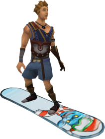 Snowboard (penguin) equipped.png: Snowboard (penguin) equipped by a player