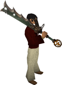 Bandos_godsword_equipped.png: Bandos godsword (passive) equipped by a player