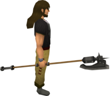 Iron halberd equipped.png: Iron halberd equipped by a player