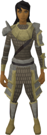 Vesta's armour equipped (female).png: Vesta's chainbody equipped by a player