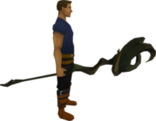 Mud battlestaff equipped.png: Mud battlestaff equipped by a player